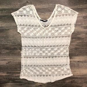 Maurices Lace Crochet Overlay Blouse Boho EUC